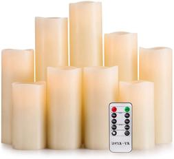 Set of 9 Real Wax Pillar LED Flickering Candles with Remote
