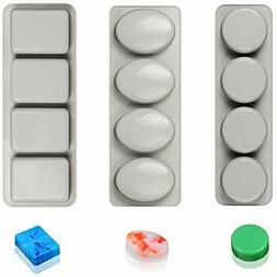 "Silicone Molds Soap Round Oval "" Rectangle Mold-3pcs For Mak"
