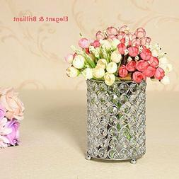 Crystal Cylinder Candle Holders Candlesticks Table Centerpie