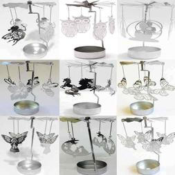 Silver Metal Rotating Spinner Carousel Candle Tea Light Hold