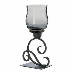 Smoked Glass Cursive Scroll Votive Candle Holder Stand