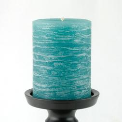 """Teal Pillar Candle - Rustic 3x4"""" - Unscented Paraffin Wax -"""