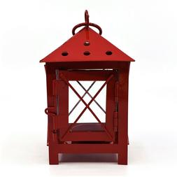 Traditional Red Metal & Glass Footed Lantern for Tea Light C