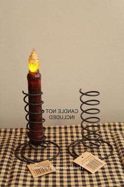 TWO BLACK Wire Spiral Taper Candle Holders - Primitive Desig