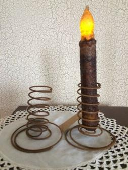 TWO RUST Wire Spiral Taper Candle Holders Primitive Design R