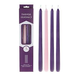 "Mega Candles Unscented 12"" Advent Taper Candle, Set of 4"