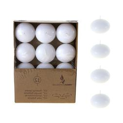 """Mega Candles - Unscented 1.5"""" Floating Disc Candles - White,"""