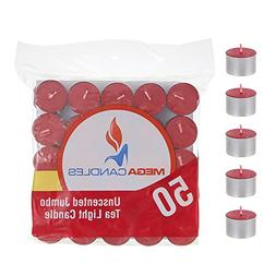 Mega Candles 50 pcs Unscented Red Jumbo Tea Lights Candle |