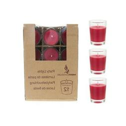 Mega Candles - Unscented Mini Glass Container Candles - Red,