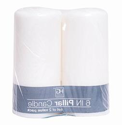 Hosley 3 x 6 inch high, 2 Pack White Unscented Pillar Candle