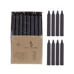 Mega Candles 48 pcs Unscented Black Straight Taper Candle |