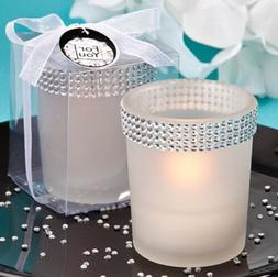 FASHIONCRAFT White Bling Candle Holder Wedding Favors with T