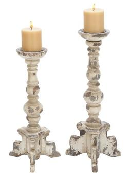 Deco 79 Wooden Candle Holder, Contemporary Rubbed Finish, Se